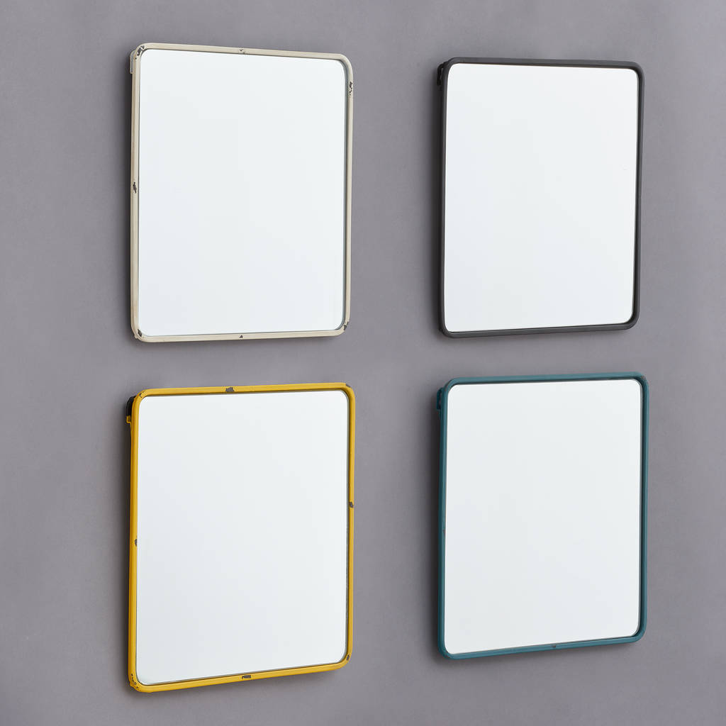 Vintage and unusual mirrors notonthehighstreet metal framed mirror in black white blue and yellow bedroom amipublicfo Choice Image