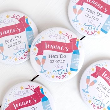 Personalised Celebration Hen Party Badge