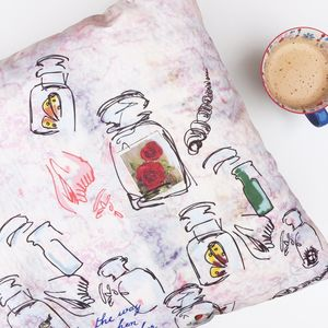 Wanderlust Velvet Cushion Cover With Postcard Design