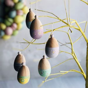 Painted Wooden Egg Easter Decorations