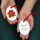 Poinsettia Christmas Decoration Personalised