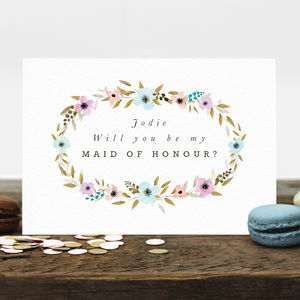Personalised Maid Of Honour Card