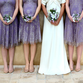 Bespoke Lace Bridesmaid Dresses In Orchid