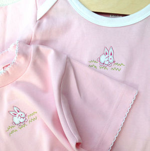 Baby T Shirt With Rabbit Embroidery - easter outfits