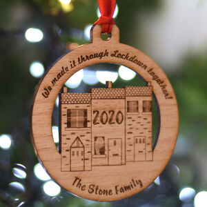 Personalised Lockdown Christmas Hanging Decoration