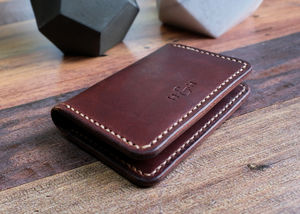 Italian Leather Folding Card Wallet