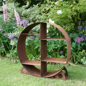 Circular Metal Outdoor Log Store - baskets