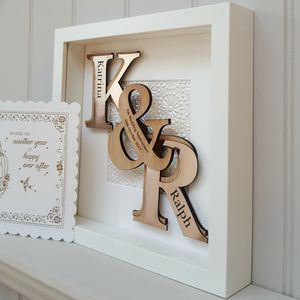7th Copper Anniversary Deluxe Oak Initials Artwork - dates & special occasions