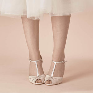 Mimosa Leather T Bar Wedding Shoes - bridal shoes