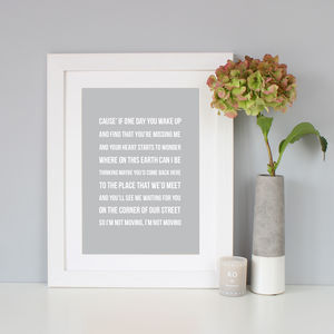 Personalised Song Lyrics Print - for him