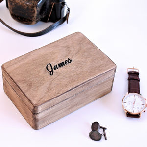 Carved Personalised Wooden Anniversary Box - storage & organisers