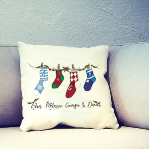 Personalised Christmas Socks Family Cushion Cover - christmas home accessories