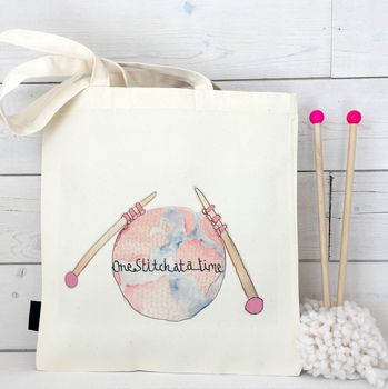'One Stitch At A Time' Knitting Bag