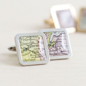 Personalised Square Map Location Cufflinks - gifts for him