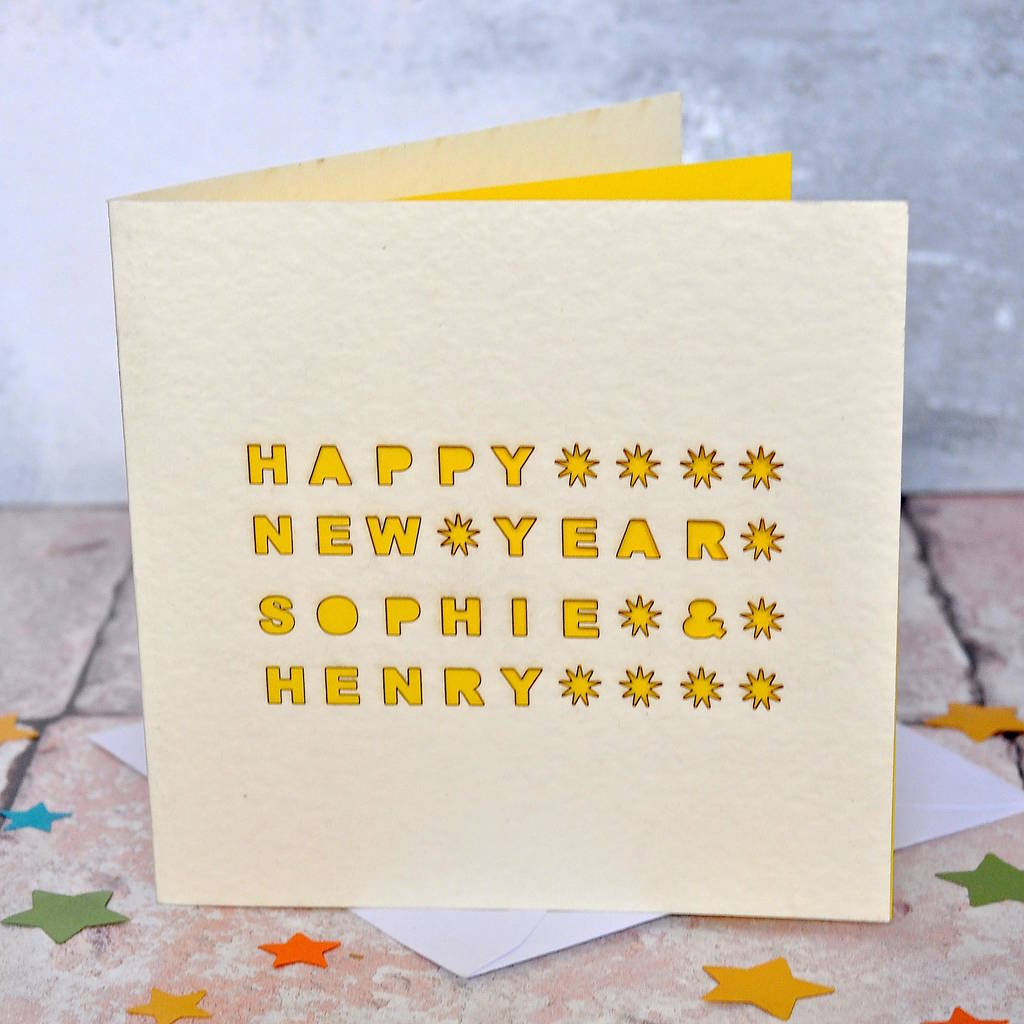 personalised happy new year laser cut card