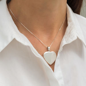 Oversize Sterling Silver Heart Locket - lockets