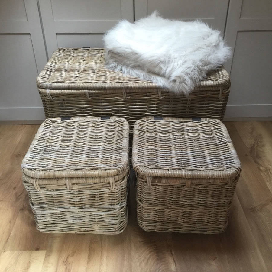 large wicker hamper baskets with lid on wheels by cowshed interiors. Black Bedroom Furniture Sets. Home Design Ideas
