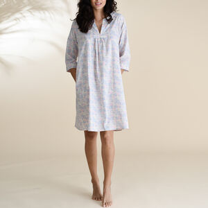 Kaftan Florence Nightie In Pink And Blue Floral Print