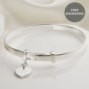 Personalised Love Heart Christening Bangle - christening gifts