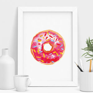 Pink Iced Doughnut Watercolour Print - sale by category
