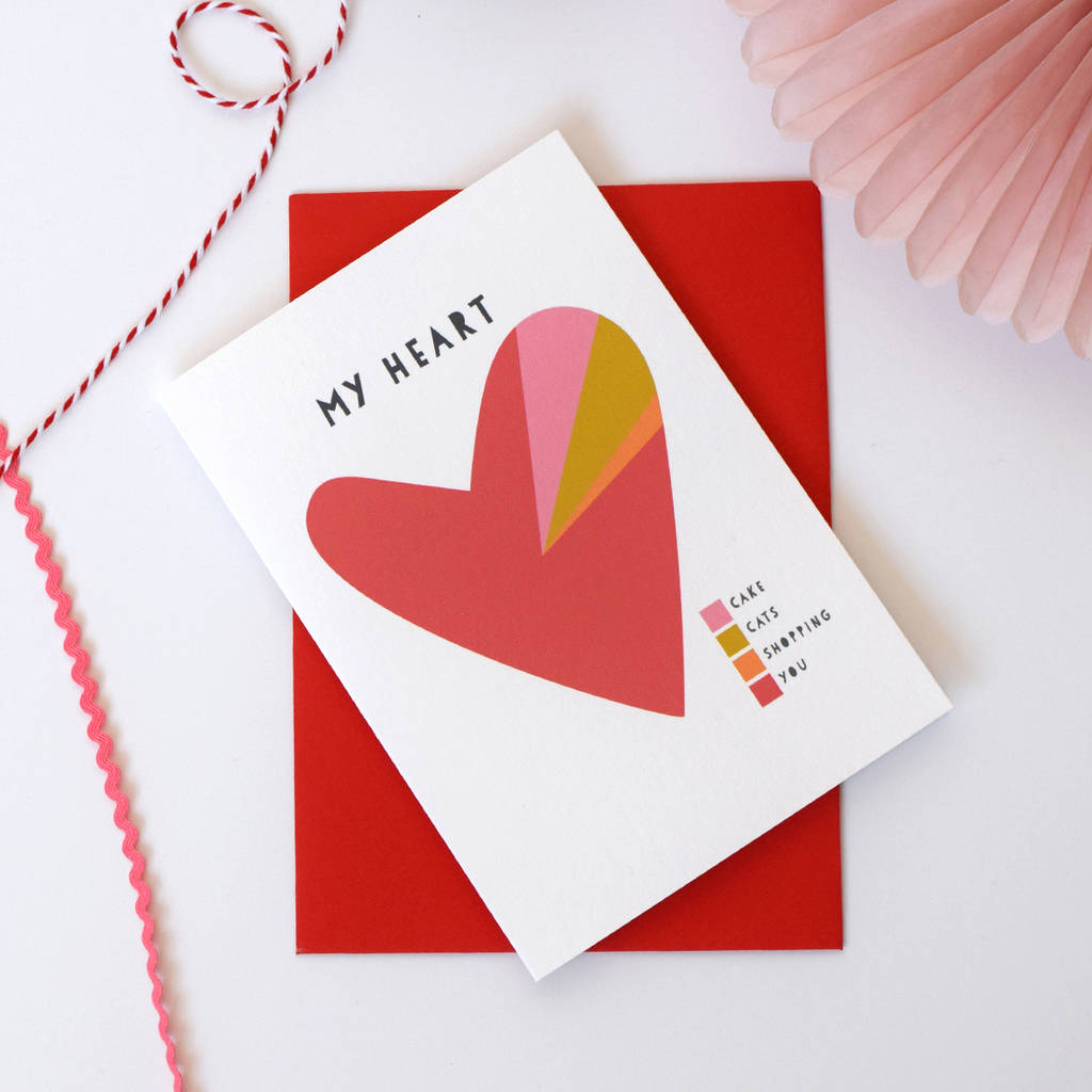 'My Heart' A Pie Chart Personalised Valentines Card