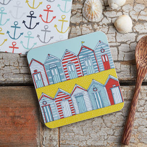Beach Huts Melamine Coaster - kitchen