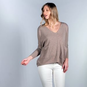 100% Cashmere V Neck Slouchy Pockets Jumper