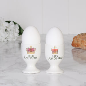 Set Of Two Lordship And Ladyship Egg Cups - egg cups & cosies