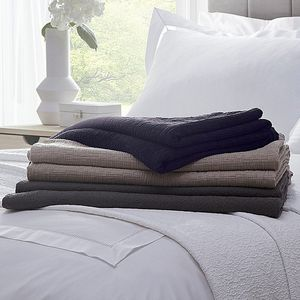 Matelasse Square Cotton Bedspread Navy And Latte