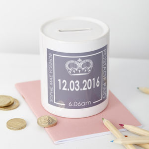 Personalised Baby Birth Date Money Box - more