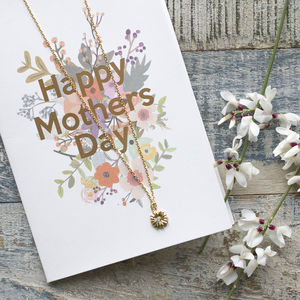 Mothers Day Flower Necklace And Card Gift Set - shop by category