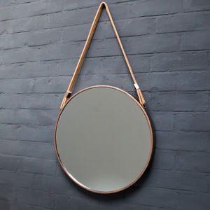 Copper Circluar Mirror With Fabric Hanging Strap