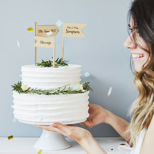 Personalised Wooden Flags Cake Topper - cake toppers & decorations