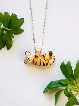 "Tiger Porcelain Pendant On 18"" Sterling Silver Chain"