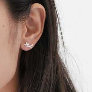 Silver Rising Star Earring Studs - gifts for her