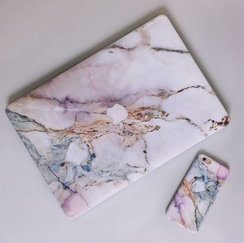 Pink Grey White Marble iPhone Case And Macbook Skin