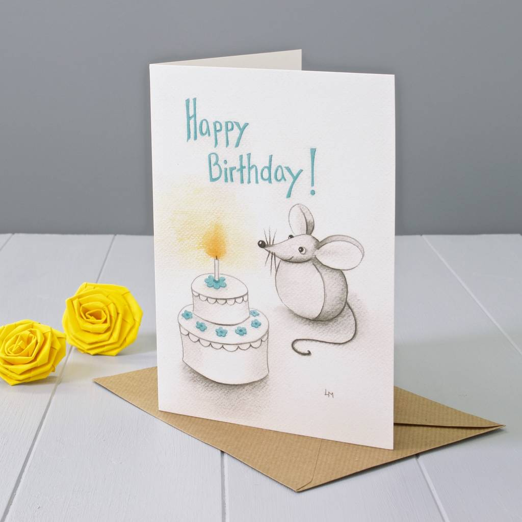 Happy Birthday Mouse With A Cake Greeting Card By Yellow Rose Design