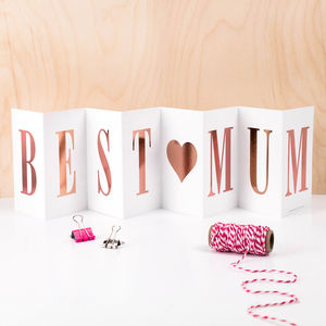 Card For Mum 'Best Mum' Foil Concertina Card - summer sale
