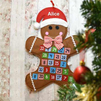 Personalised Hanging Advent Calendar Gingerbread Man