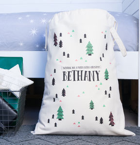 Personalised Scandi Print Christmas Sack