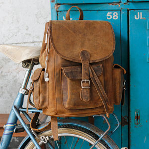 Vintage Style Large Leather Backpack - backpacks