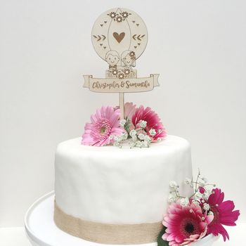 Personalised Wooden Balloon Wedding Cake Topper