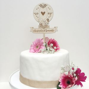 Personalised Wooden Balloon Wedding Cake Topper - cake toppers & decorations
