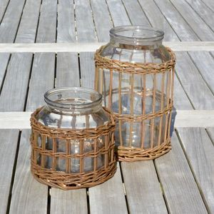 Natural Rattan Hurricane Lantern - votives & tea light holders