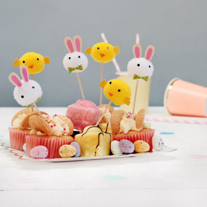 Easter Bunny Rabbit And Chick Pom Pom Cake Decorations - easter homeware