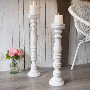 Tall White Wooden Candlestick Two Sizes