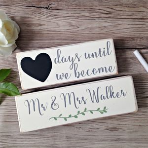 Wedding Countdown Wooden Blocks Personalised - albums & guest books