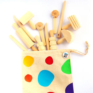 Wooden Dough Tool Set - traditional toys & games
