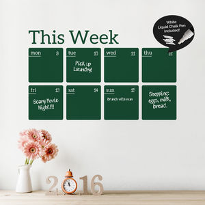 Write And Erase Weekly Calendar Sticker - planning & organising