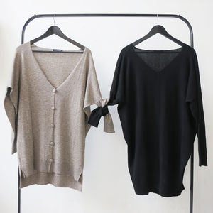Yak Merino V Neck Batwing Jumper And Cardigan - jumpers & cardigans